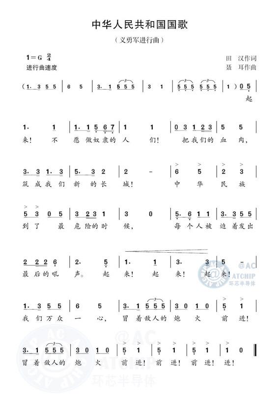 中华人民共和国国歌(义勇军进行曲)数字简谱曲谱 (  音乐类   ) / GuoGeanthem