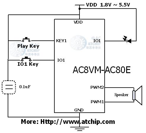 ac8vm12和弦音乐门铃ic芯片接线图pwm直推喇叭