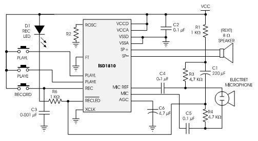 isd1810应用电路图 环-芯