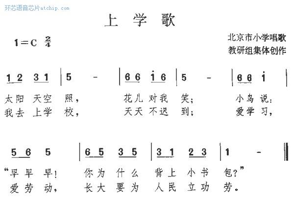 上学歌数字简谱曲谱 ( 声音类 ) / school song